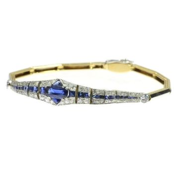 High quality Dutch Art Deco sapphire and diamond bracelet  wrist candy by Unknown Artist