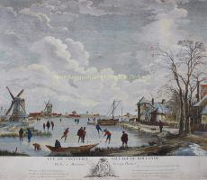 Dutch ice skating scene  by  Jacques Philippe le Bas after Adriaen van Drever