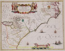 Old map of the American East Coast by Blaeu, Joan