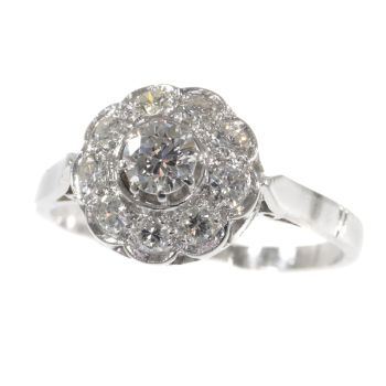 Vintage engagement ring 1950's platinum and brilliant cut diamonds by Unknown Artist