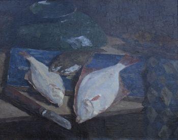 Still life with plaice by Paul Arntzenius