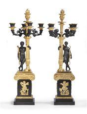 A pair of restauration five-light candelabra