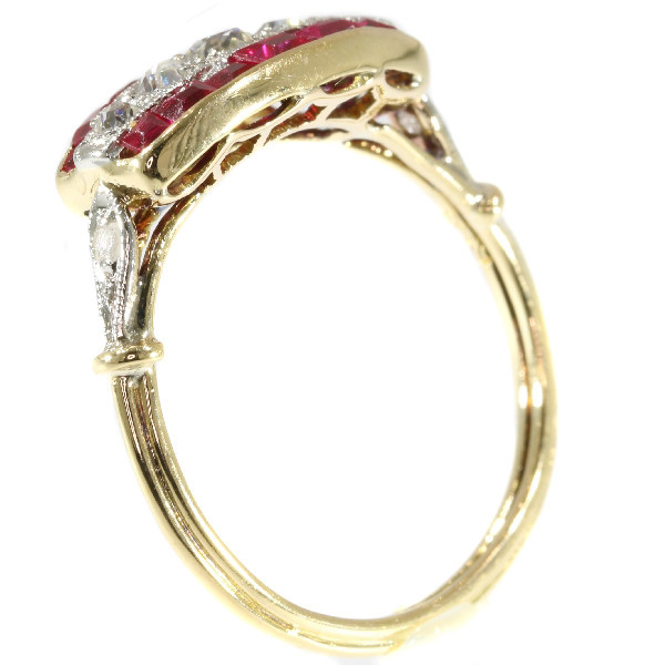 Art Deco diamond and ruby ring by Unknown Artist