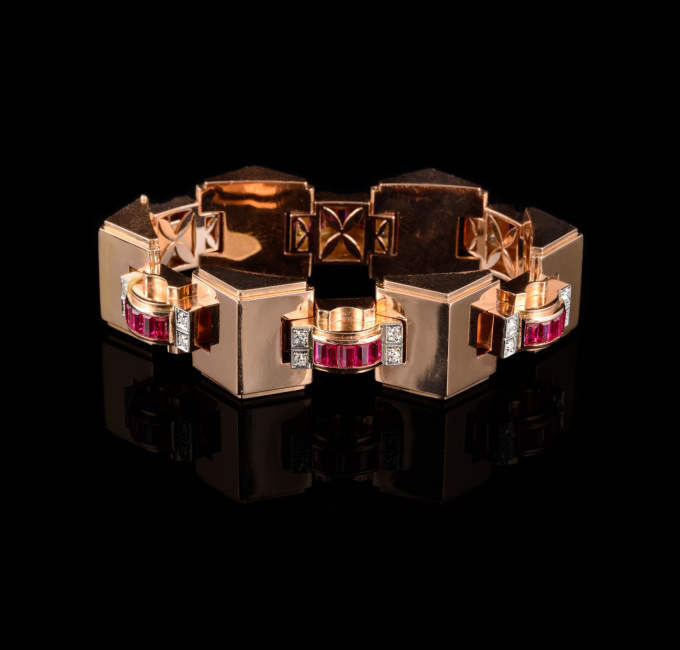 Retro bracelet with diamonds and rubies by Unknown Artist