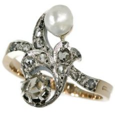 Antique diamond pearl ring Victorian cross over ring also called toi and moi by Unknown