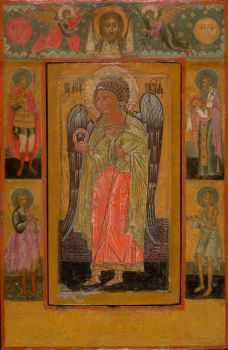 Antique Russian wooden icon: Archangel Gabriel by Unknown Artist