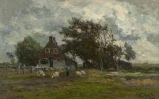 Landscape with a shepherd and his flock by Willem Roelofs