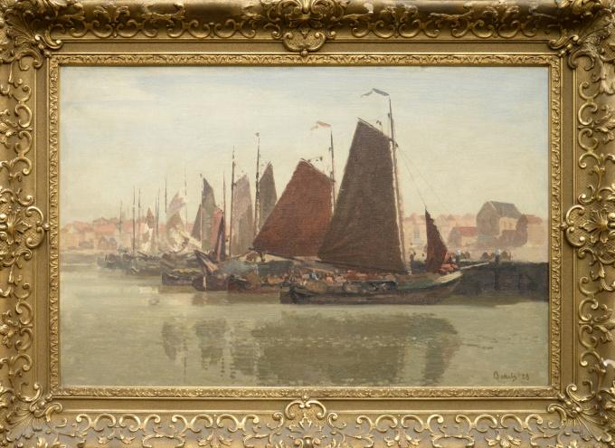 Sailing ships in the port of Scheveningen. by Reinier Sybrand Bakels