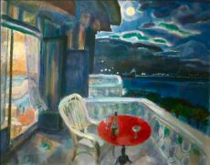 Moonlight Night. View on Montreux with the Château de Chilloin by Jan Sluijters