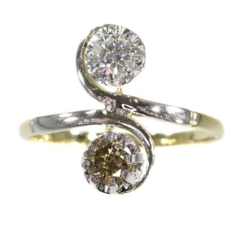 Vintage Fifties romantic engagement ring with white and champagne brilliant by Unknown Artist