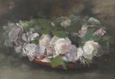 Pink 'La France'-roses in a bowl