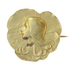 Art Nouveau brooch lady's head signed Rasumny by Unknown Artist