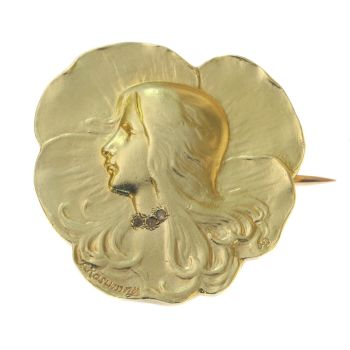 Art Nouveau brooch lady's head signed Rasumny by Unknown Artist