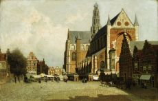 St. Bavo Church, Haarlem, Holland by Hendrik Johannes (Jan Hendrik) Weissenbruch
