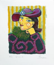 Woman in a straw hat with flower III - III