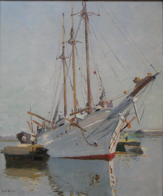 Sailingboat in harbour by Willem Knip