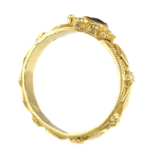 Late Baroque gold garnet ring hallmarked Amsterdam 1692 by Unknown