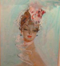 Femme sur fond turkoise by Jean-Gabriel Domergue
