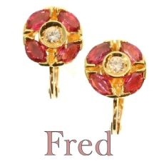Estate signed FRED earrings with rubies and diamonds by Fred