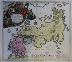 Decorative map of Japan published by Matthaeus Seutter by Seutter, Matthaus (1678-1757)