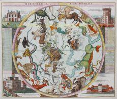 HEMELKAART MET STERRENBEELDEN EN STERRENWACHTEN  by Doppelmayr, Johann Gabriel (1677-1750)