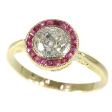 Authentic Art Deco Diamond Ruby And Ring by Unknown Artist