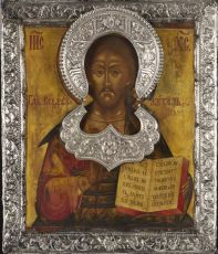 Russian wooden icon with silver rizza – Christ Pantokrator by Unknown Artist