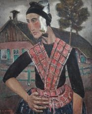 Staphorst peasant woman in traditional costume by Reimond Kimpe