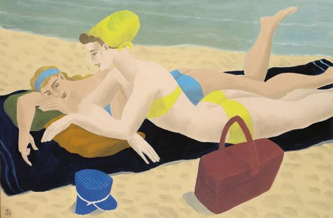Sunbathing on the beach by Ferdinand Erfmann