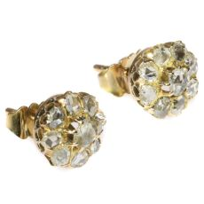 Antique vintage diamond Victorian ear studs by Unknown Artist
