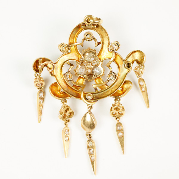 Holbeinesque pendant with diamonds and enamel by Unknown Artist