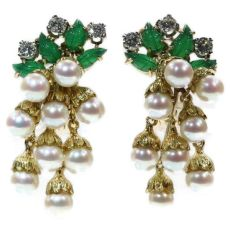 French estate gold and platinum diamond and pearl earrings with green leaves by Unknown