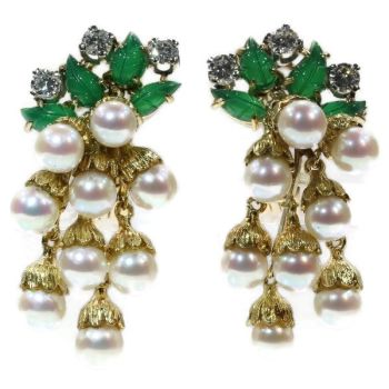 French estate gold and platinum diamond and pearl earrings with green leaves by Unknown Artist