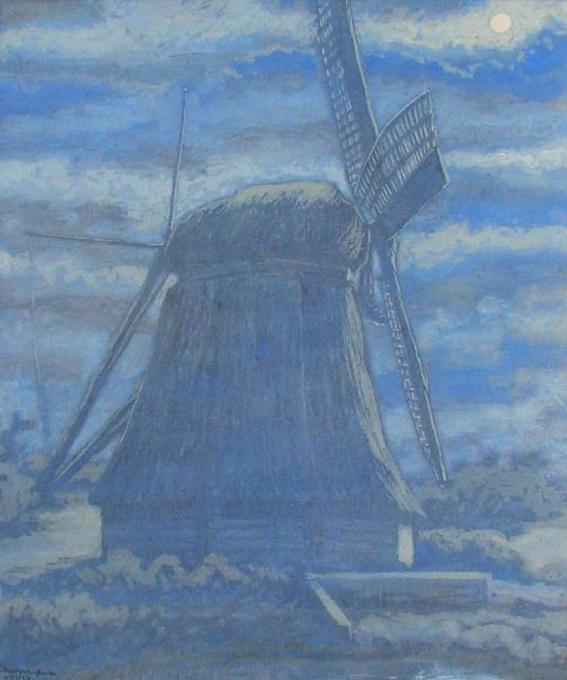 Windmill in moonlight (in Diemen, near Amsterdam) by Willy Schoonhoven van Beurden