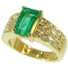 Kutchinsky 2.33 Carat Natural Emerald & Diamond 18 Karat Yellow Gold Ring by Unknown Artist