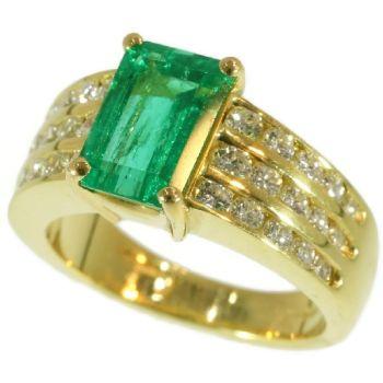 Kutchinsky 2.33 Carat Natural Emerald & Diamond 18 Karat Yellow Gold Ring by Unknown Artist