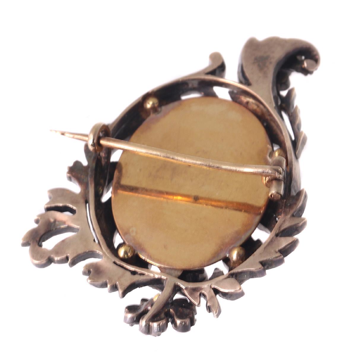 x Brass and Copper Intricate Asymmetrical Edwardian Oval Flower Brooch #2