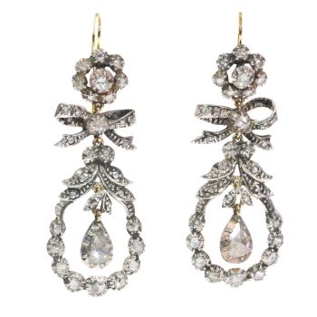 Antique 19th Century long pendent chandelier diamond earrings by Unknown Artist