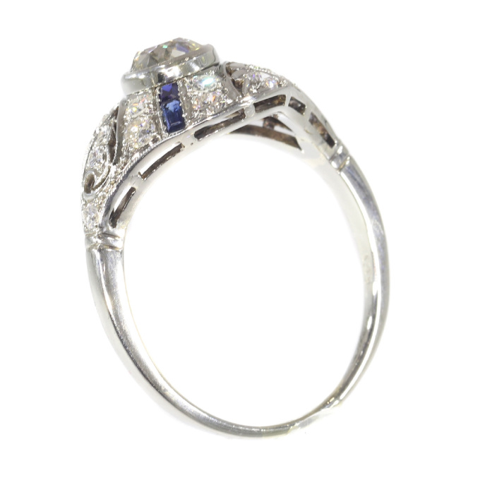 Original Vintage Art Deco ring white gold diamonds and sapphires by Unknown Artist