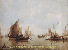 CALM ESTUARY WITH DUTCH SHIPS   by Capelle, naar Jan van de