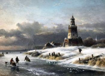 Winter landscape by Lodewijk Johannes Kleijn
