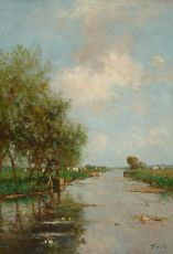 Polder landscape with cows by Victor Bauffe