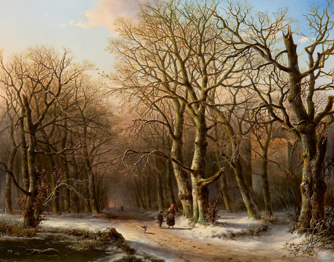 A wood gatherer in a snowy landscape by Everardus Mirani
