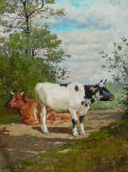 Resting cows by Johannes Hubertus Leonardus De Haas