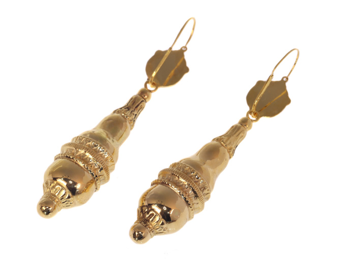 Antique mid-Victorian gold earrings long pendant by Unknown Artist