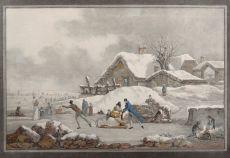 WINTERTAFEREEL Ets met aquatint vervaardigd ca. 1800  by Philibert-Louis Debucourt