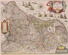 BEROEMDE 'SCHEEPJESKAART' VAN DE XVII PROVINCIEN   by Blaeu, Willem