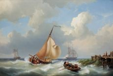 Sailing vessels off the coast in stormy weather by Cornelis Christiaan Dommelshuizen