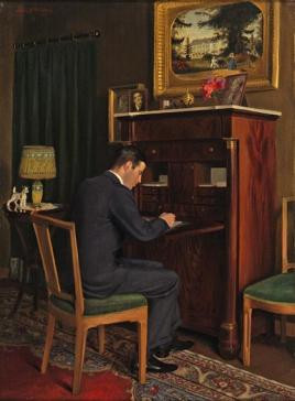 Interior of Karel, seated at his desk by Lodewijk Bruckman