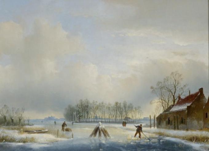 Winter landscape with figures by Jan Jacob Spohler